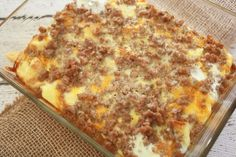 Sausage, Egg and Cheese Breakfast Casserole Breakfast Sausage Casserole Recipe - Egg Recipes For Breakfast, Breakfast Dishes, Breakfast Time, Brunch Recipes, Breakfast Ideas, Sausage Recipes, Casserole Recipes, Cooking Recipes, Egg Casserole