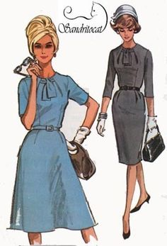 Vintage 60s Sewing Pattern McCalls 7017 MAD MEN Dress with Unique Neckline in Slim or Flared Skirt Plus Size 22.5 Bust 43 by sandritocat on Etsy