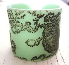 Jade Owl Cuff Bracelet Owl Design Handmade Jewelry by theshagbag, $16.95  you need this Jenny Lou Who