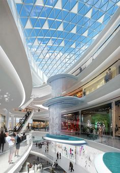 Interior Design For Bathroom Shopping Mall Architecture, Shopping Mall Interior, Commercial Architecture, Commercial Interior Design, Interior Architecture, Atrium Design, Facade Design, Restaurant Hotel, Shoping Mall