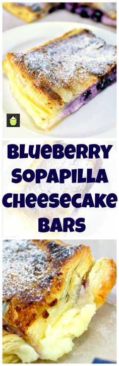 Blueberry Sopapilla Cheesecake Bars. An incredibly easy recipe with cream cheese and blueberry filling sandwiched between layers of pastry. This tastes amazing!