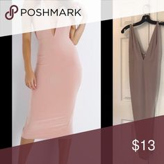 Deep V Cut Fitted Dress 😍 Super fabulous only worn once price is firm it's super cheap! The material is polyester and rayon..the length of the dress is a midi length slight pulls on the dress but not noticeable NOT ZARA Zara Dresses Midi
