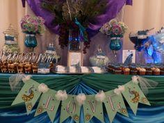 Peacock Wedding Candy Buffet #peacock #candybuffet