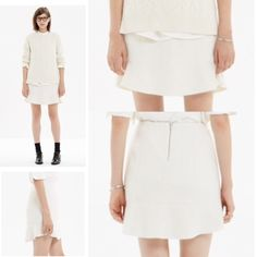"""saleMadewell Boulevard Skirt Winter White Skirt of your Dreams. Madewell wool/poly skirt with silver zipper at back (and sweet grosgrain detail ). Skirt length is 17"""". Waist is 15"""" across top. Hip is 19""""  Madewell Skirts Mini"""