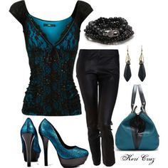 Teal & Black Lace