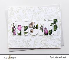 "First, I stamped outline images in light green to create a delicate background for my bold sentiment. Then, I die cut the letters out of white cardstock to create ""friend"" word and used the beautiful floral stamps to decorate it. The ""hey there"" stamp is from Sentiments & Quotes Stamp Set."