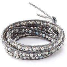 Chan Luu Five Wrap Grey Crystal and Nugget Mix Bracelet (645 BRL) ❤ liked on Polyvore featuring jewelry, bracelets, accessories, crystal jewellery, chan luu, crystal bangles, crystal jewelry and chan luu jewelry