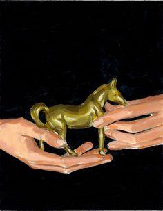Tiny Pony . giclee wall art print of horse trophy painting