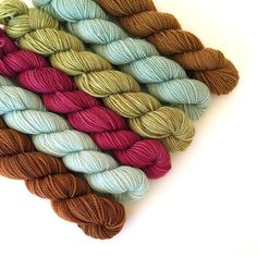 NATURALLY DYED SET A mini-skeins High Twist Sock by DovecoteYarns