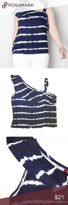 Avenue Plus Size Tie Dye One Shoulder Soft Top It is new with torn tag.  •Soft light weight fabric in a blue & white tie dye pattern •One shoulder style, with a single shoulder strap so it doesn't fall •Size 26/28 •Bust: 50 inches around unstretched •Length: Approx 26.5 inches •95% Rayon, 5% Spandex  Thank you so much! Avenue Tops