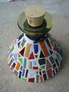 Mosaic Bottle with Colorful Hand Crafted Pieces by CreationsbyBY, $75.00
