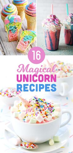 16 Magical Unicorn Recipes To Make This Weekend is part of Unicorn crafts Princesses - Make some ~magic~ in your kitchen Milk Shakes, Cupcakes, Yummy Treats, Sweet Treats, Unicorn Foods, Rainbow Food, Rainbow Treats, Good Food, Yummy Food