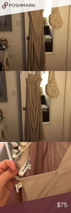 Nude summer gown Long lace back gown with 2 side slits in front, zip low back, perfect for a wedding/rehearsal dinner, very light Dresses Maxi