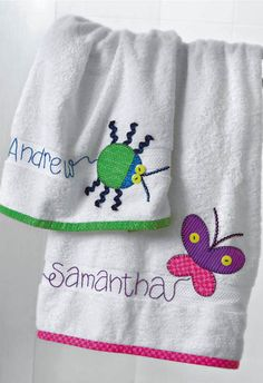 Appliquéd Butterfly & Bug Towels - Crafts 'n things