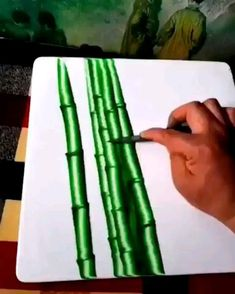 Drawing Bamboo by Jie Ge Canvas Painting Tutorials, Diy Canvas Art, Acrylic Art, Acrylic Painting Canvas, Art Drawings Sketches Simple, Cool Artwork, Amazing Artwork, Art Techniques, Art Tutorials