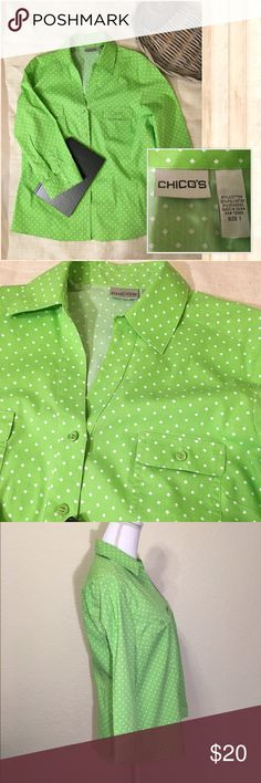 "☀️NWOT Lime Green & White Polkadot Button Up Top☀️ New.  Very sharp looking shirt!  Chico's Size 1 = Size M or 8-10.  5 color coordinated button front with two breast pockets.  97% cotton. 3 % spandex.  3/4 sleeve - sleeve length 18.5"".  Bust: up to 49"".  Waist: up to 38"".  Shoulder width: 16"".  Length from neck to bottom hem:  26"". Chico's Tops Button Down Shirts"