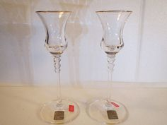 Set of 2 Gold Rimmed Stemmed Crystal Candle Holders From Austria by Mikasa