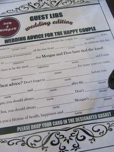 wedding guest libs. great idea!