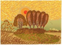 Farewell to a Norfolk Summer is a multi layer linocut. It also appears on the cover of the debut novel Elmet by Fiona Mozley which has been short listed for the Man Booker Prize 2017. This Linocut has been handprinted using Lawrences Linseed Oil inks and Saunders Waterford watercolour