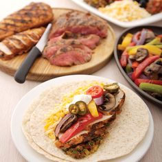 cilantro-lime-marinated-chicken-steak-fajitas-guacamole-papaya-salsa ...