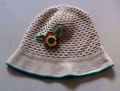 Sombrero niña algodón beige con flor