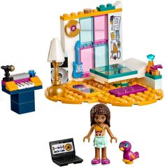 Build a room made for a star with this LEGO Friends Andrea's Bedroom Legos, Lego Furniture, Minecraft Furniture, Barbie Doll Set, Lego Friends Sets, Lego Bedroom, Bedroom 2018, Lego Clones, Lego Girls