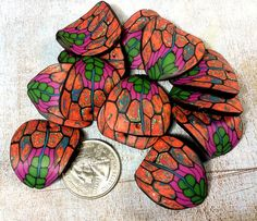 Batch of 13 polymer clay leaf beads  funky by crystalsoflove, $6.00