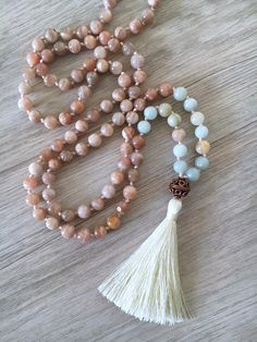 Intuition Peach Moonstone Amazonite & Copper Mala Necklace