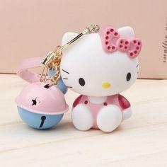 Nuovo design hello kitty estremamente carino portachiavi con piccoli bells portachiavi per fascini del sacchetto pendenti auto prodotto della novità grande dono
