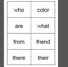 1st grade flash cards