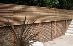 Contemporary Slatted Panels - Slatted Fence Panels - Essex UK, The Garden Trelli. Contemporary Slatted Panels - Slatted Fence Panels - Essex UK, The Garden Trellis Company. Garden Privacy, Garden Shrubs, Garden Trellis, Garden Fencing, Bamboo Fencing, Fence Plants, Front Yard Fence, Fenced In Yard, Small Fence