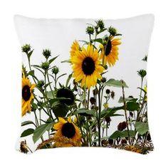 Sunflowers In Garden Woven Throw Pillow