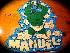 Artemangie: LETRERO NOMBRE HULK- GOMA EVA Hulk, Grinch, Disney Characters, Fictional Characters, Banner, Disney Princess, Cake Toppers, Cool Crafts, Stall Signs
