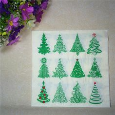 20pcs/lot 2-Layer Christmas tree Paper Napkins Decoupage Christmas party table Decoration birthday wedding party Supplies