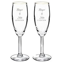 Personalized Champagne Toasting Flutes Set Of 2 Engraved Wedding Gles