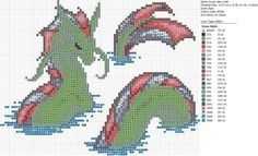Cross-stitch Dragons by carand88...   Christmas Green Serpent Dragon by carand88