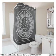 Shop White Rose Mandala - Shower Curtain created by GRAPHICSITE. Mandala Rose, Geometric Mandala, Mandala Design, Custom Shower Curtains, Bathroom Shower Curtains, Mandala Shower Curtain, Bathroom Art, White Shop, White Roses