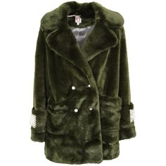 Faux Fur Pearl Embellished Coat (1.645 RON) ❤ liked on Polyvore featuring outerwear, coats, moss green, faux fur coat, long sleeve coat, fake fur coat, green coat and imitation fur coats