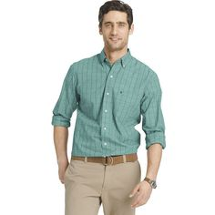 Men's IZOD Classic-Fit Windowpane Button-Down Shirt, Size: