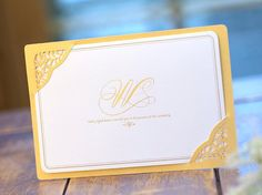 Custom Laser Cut Wedding Invitation Gold Frame Layered and Gold Foil - GM136 - RSVP with Envelopes Seals - - - - - Free Shipping Promotion