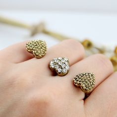 Gold crystal bead heart two fingers ring