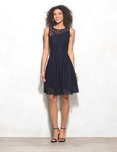 Navy Lace Dress | dressbarn