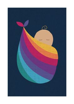 Babywearing Art Print Baby Bundle Sling Giclee Art Print Gift - pinned by pin4etsy.com