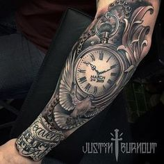 Ideas tattoo arm men black tatoo for 2019 Time Tattoos, New Tattoos, Body Art Tattoos, Tattoos For Guys, Sleeve Tattoos, Cool Tattoos, Tatoos, Portrait Tattoos, Tattoo Sleeves