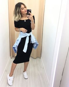 Vestido Midi com tênis – Tennis Shoe Outfit Dress Outfits, Cool Outfits, Summer Outfits, Casual Outfits, Fashion Outfits, Womens Fashion, Tennis Shoes Outfit, College Outfits, Modest Dresses