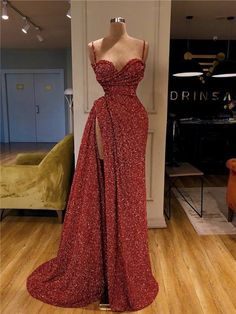 Cheap Newest Sparkly Red Sequin Spaghetti Srtaps Mermaid Modest Fashion Long Prom Dresses Glam Dresses, Event Dresses, Pretty Dresses, Sexy Dresses, Beautiful Dresses, Fashion Dresses, Formal Dresses, Modest Fashion, Sparkly Dresses