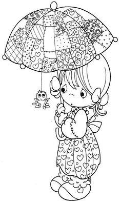 Girl & umbrella with spider
