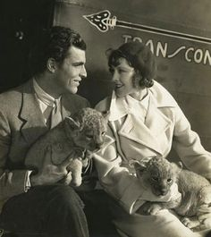 Buster Crabbe and Frances Dee with lion cubs Paul Lukas, Freestyle Swimming, George Brent, Maureen O'sullivan, Ronald Colman, Robert Montgomery, American Athletes, Psychological Horror, Lion Cub