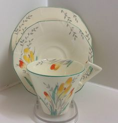 Alfred Meakin Art Deco  Crocus Pattern China Tea Set Trio English bone china & Vintage Alfred Meakin Serving Platter And 6 Plates 1940u0027s Alfred ...