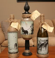 Photo Bottles #bottles #jars #craft with bottles #glass craft #recycle #upcycle #altered art bottles